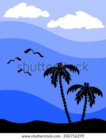 silhouette of a palm tree with seagulls - stock vector