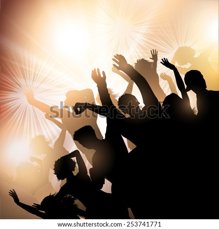 Silhouette of a party crowd - stock vector