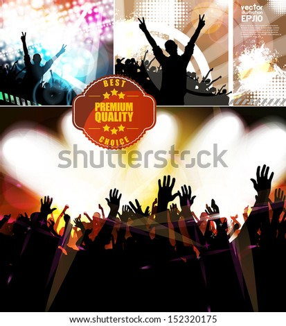 Silhouette of a party crowd on a glowing lights background. Vector - stock vector