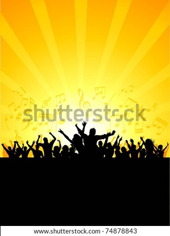 Silhouette of a party crowd on a music notes background - stock vector