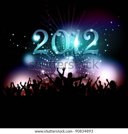 Silhouette of a party crowd on a New Years background - stock vector