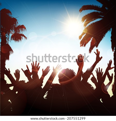 Silhouette of a party crowd on a tropical background - stock vector