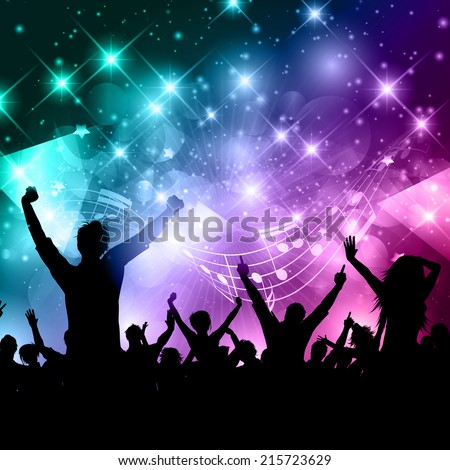 Silhouette of a party crowd on an abstract background with music notes - stock vector