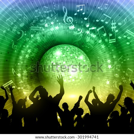 Silhouette of a party crowd on an abstract mirror ball background with music notes and rainbow colours - stock vector