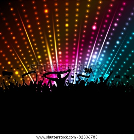 Silhouette of a party crowd with banners on a disco light background - stock vector