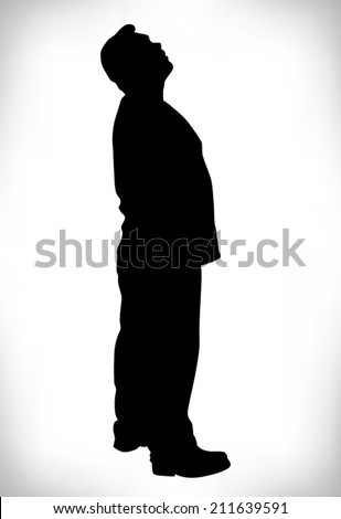 silhouette of a paunchy man looking up - stock vector
