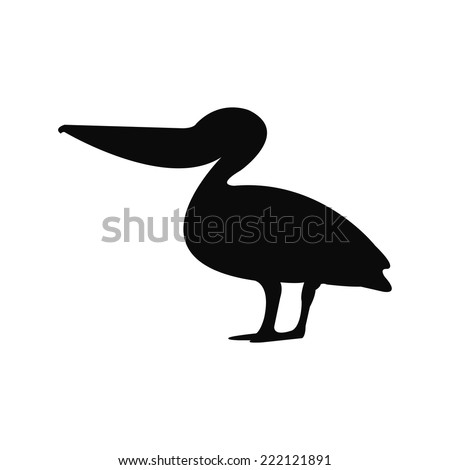 Silhouette of a pelican - stock vector