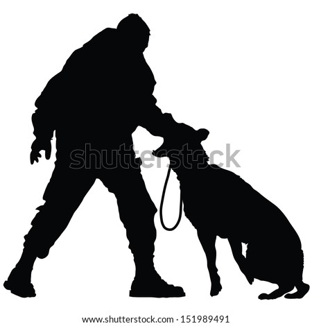Silhouette of a police officer training with his dog partner  - stock vector