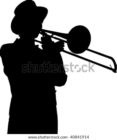 Silhouette of a pretty young woman in a tuxedo and top-hat playing a trombone