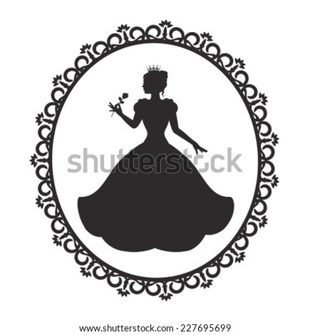silhouette of a princess in a magnificent dress in a retro frame - stock vector