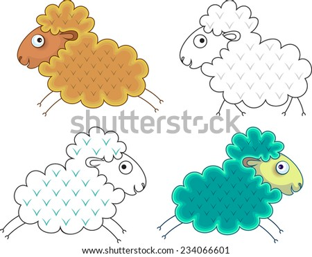 Silhouette of a ram gold and emerald. - stock vector