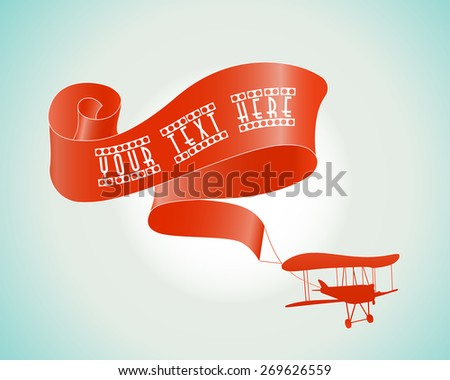 Silhouette of a retro airplane with ribbon in the sky. Banner with place for your text. - stock vector