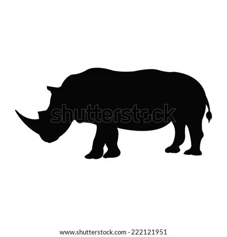 Silhouette of a rhino - stock vector