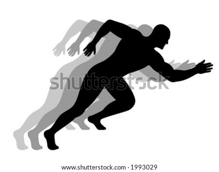 Silhouette of a running man - stock vector