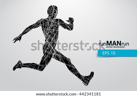 Silhouette of a running man. Text and background on a separate layer, color can be changed in one click. Running man