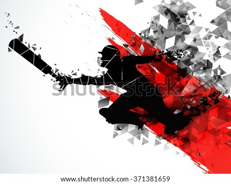 Silhouette of a running Player to take a run on creative abstract background for Cricket Sports concept. - stock vector