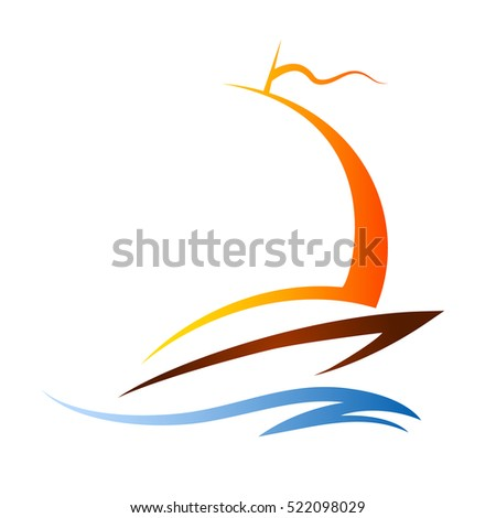 Silhouette of a sailboat on the wave vector