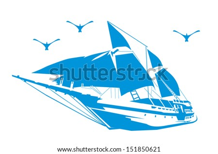 Silhouette of a sailboat on the waves. - stock vector