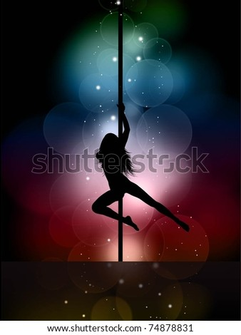Silhouette of a sexy female pole dancing - stock vector
