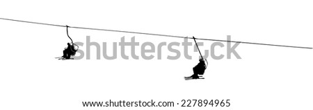 silhouette of a ski lift on white background