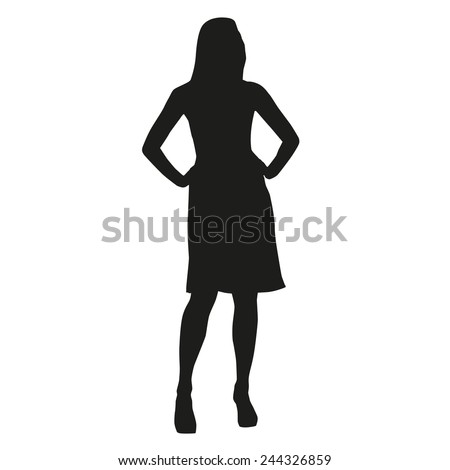 Silhouette of a slender woman at work - stock vector