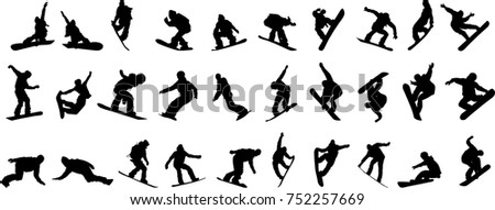 Silhouette of a snowboarder isolated on a white background.
