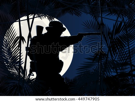 silhouette of a soldier on a background of the jungle. vector illustration