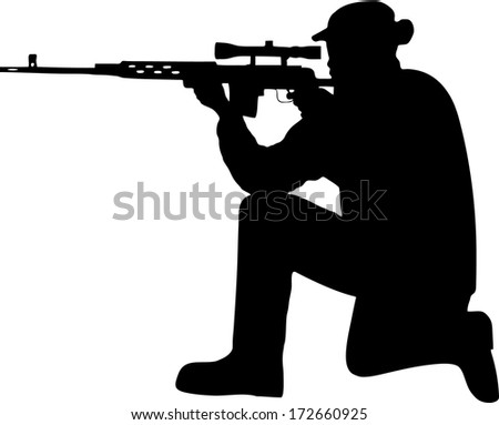 silhouette of a soldier with a gun - stock vector