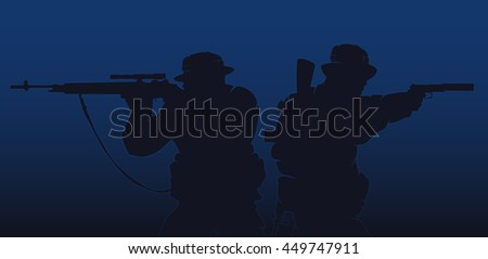 silhouette of a soldiers on a background of the night. vector illustration