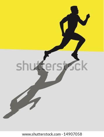 Silhouette of a sprinter - stock vector