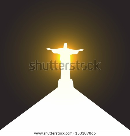 Silhouette of a statue of Jesus Christ in Rio de Janeiro, the path to salvation - stock vector