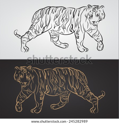 Silhouette of a tigers on the white and black background - stock vector