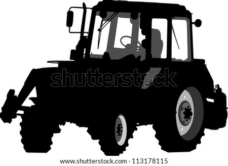 Silhouette of a tractor of road service