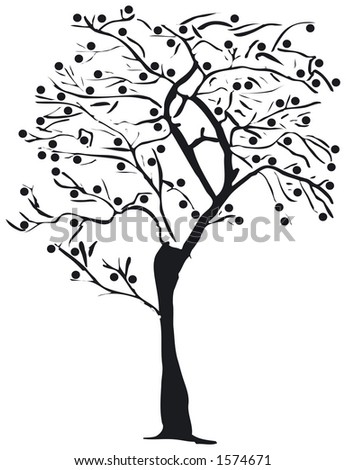 Silhouette of a tree - stock vector