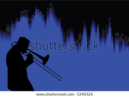 Silhouette of a trombone player with soundwave graphic in the background. - stock vector