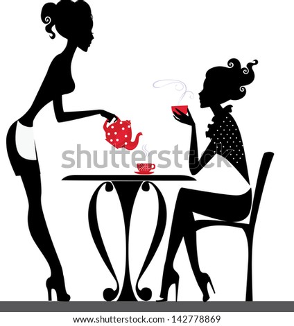 silhouette of a two girls drink tea - stock vector
