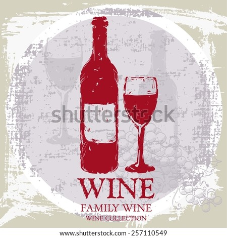 silhouette of a wine bottle and glasses vector background - stock vector