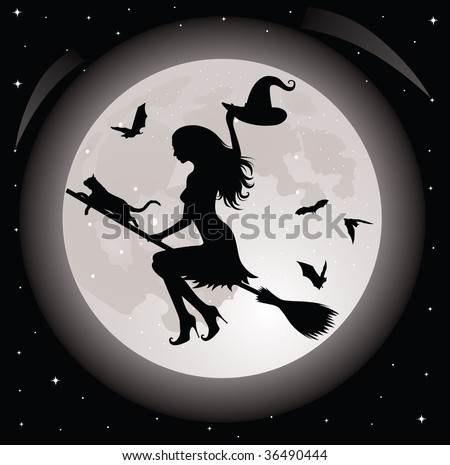 Silhouette of a witch and a cat flying on a broom. Full moon and bats on the background.