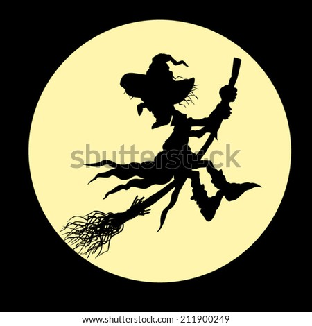 Silhouette of a witch flying on a broom. Silhouette of a witch on a moon background. - stock vector