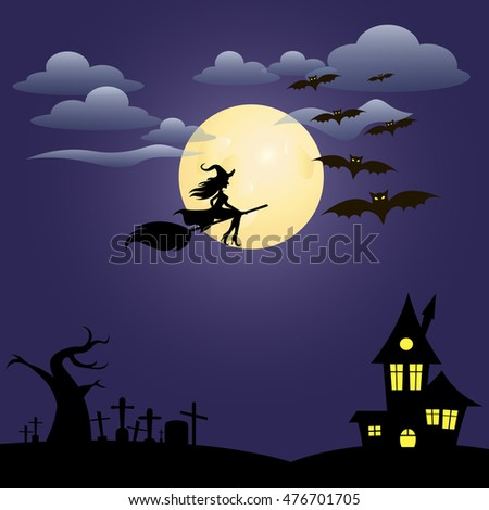 silhouette of a witch on a background of the moon