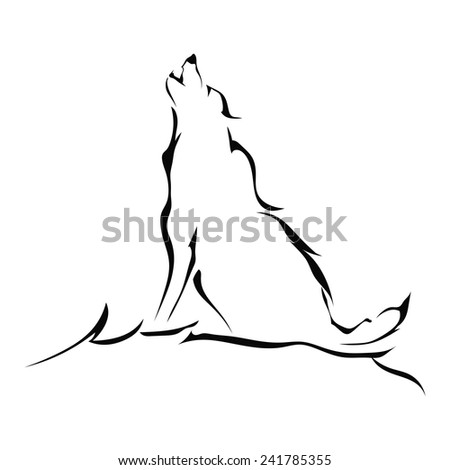Silhouette of a wolf howling isolated on white background. Logo. Vector illustration. - stock vector