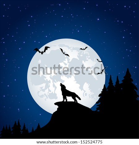 Silhouette of a wolf on Moon background, illustration - stock vector