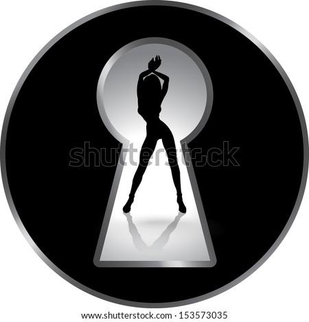 Silhouette of a woman figure seen through a key hole. Erotica - stock vector