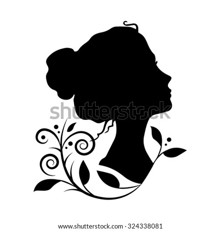 Silhouette of a woman head vector illustration - stock vector