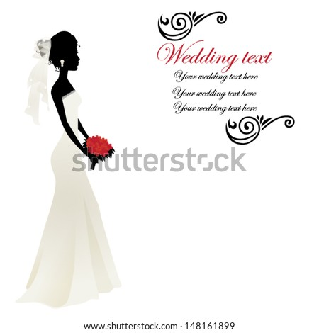 Silhouette of a woman in a wedding dress - stock vector