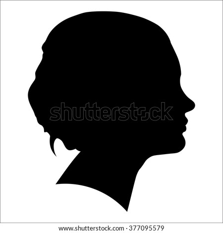 silhouette of a woman in profile - stock vector