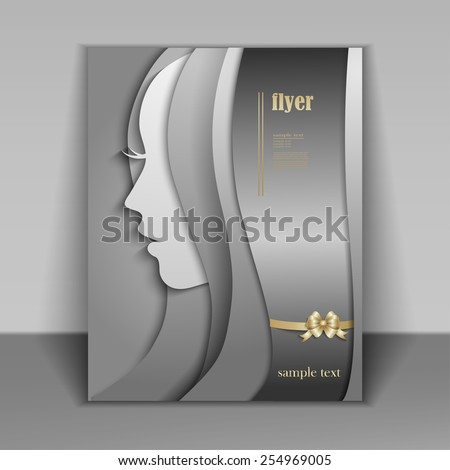 Silhouette of a woman on a silver background happy Women's Day, flyer booklet with a beautiful young woman with long hair - stock vector