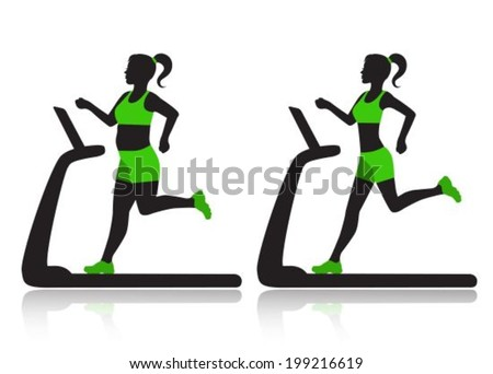 Silhouette of a woman on a treadmill before and after she lost weight.  - stock vector