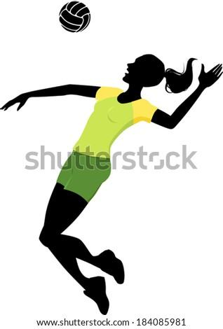 Silhouette of a woman, playing volleyball in a bright green uniform - stock vector