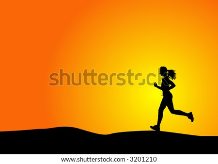 silhouette of a woman running with sunset - stock vector